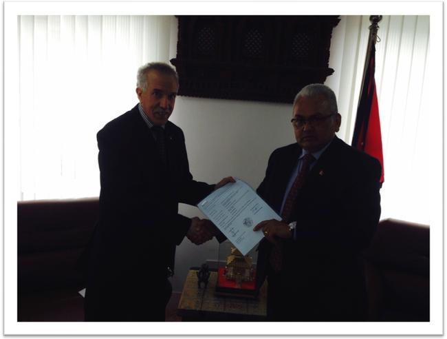 H.E. Mr. Hamza YAHIA-CHERIF, a special envoy of the Government of Algeria to Nepal in the aftermath of the the destructive earthquake that struck Nepal on 25 April 2015.