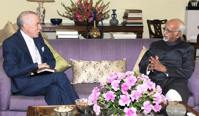 H.E. THE AMBASSADOR OF ALGERIA, MR. HAMZA YAHIA-CHERIF, RECEIVED BY M. MOHAMMAD HAMID ANSARI, HONORABLE VICE PRESIDENT OF INDIA.