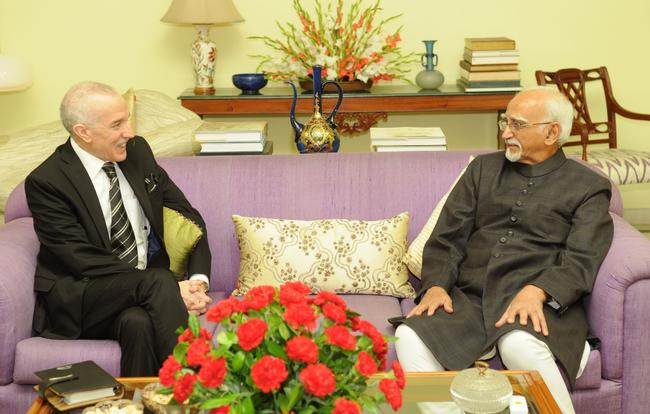 H.E. THE AMBASSADOR OF ALGERIA, MR. HAMZA YAHIA-CHERIF, RECEIVED BY M. MOHAMMAD HAMID ANSARI, HONORABLE VICE PRESIDENT OF INDIA