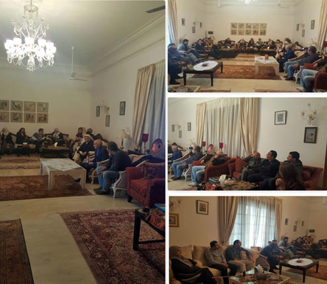 A GROUP OF ALGERIAN TOURISTS RECEIVED AT THE AMBASSADOR'S RESIDENCE.