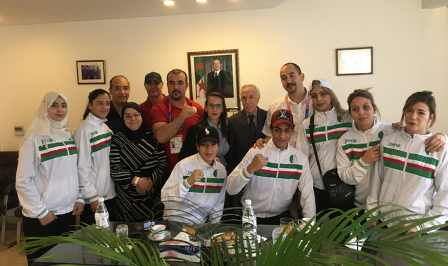 HE. MR. HAMZA YAHIA-CHERIF RECEIVE A WOMEN BOXING DELEGATION FORM ALGE..