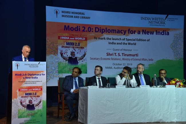 "H.E. MR. HAMZA YAHIA CHERIF ATTENDED AND DELIVERED SPEECH ON ""INDIA-ALGERIA RELATION AND NORTH AFRICA'S RELATIONS WITH INDIA"" AT THE PANEL DISCUSSION ENTITLED ""MODI 2.0: DIPLOMACY FOR A NEW INDIA"" HELD AT THE NMML AUDITORIUM, NEW DELHI ON OCTOBER 22, 2019."