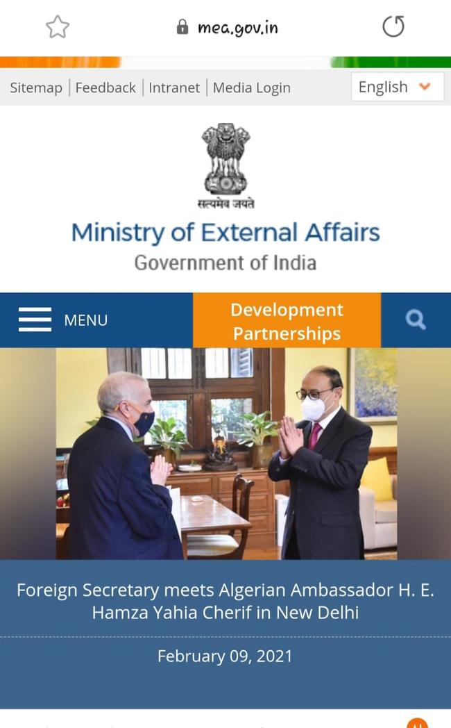 Algerian Ambassador meets Foreign Secretary of India