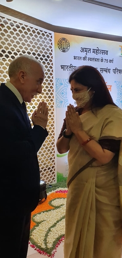His Excellency meets Smt. Meenakashi Lekhi, Minister of State for External Affairs & Culture, Government of India, during the   Amrit Mahotsav - Celebrating 75 Years of India's Independence